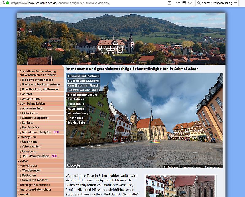 Ein virtueller Rundgang durch die historische Innenstadt von Schmalkalden - hier als integrierte Lösung auf der Website der Ferienwohnung Trollmann