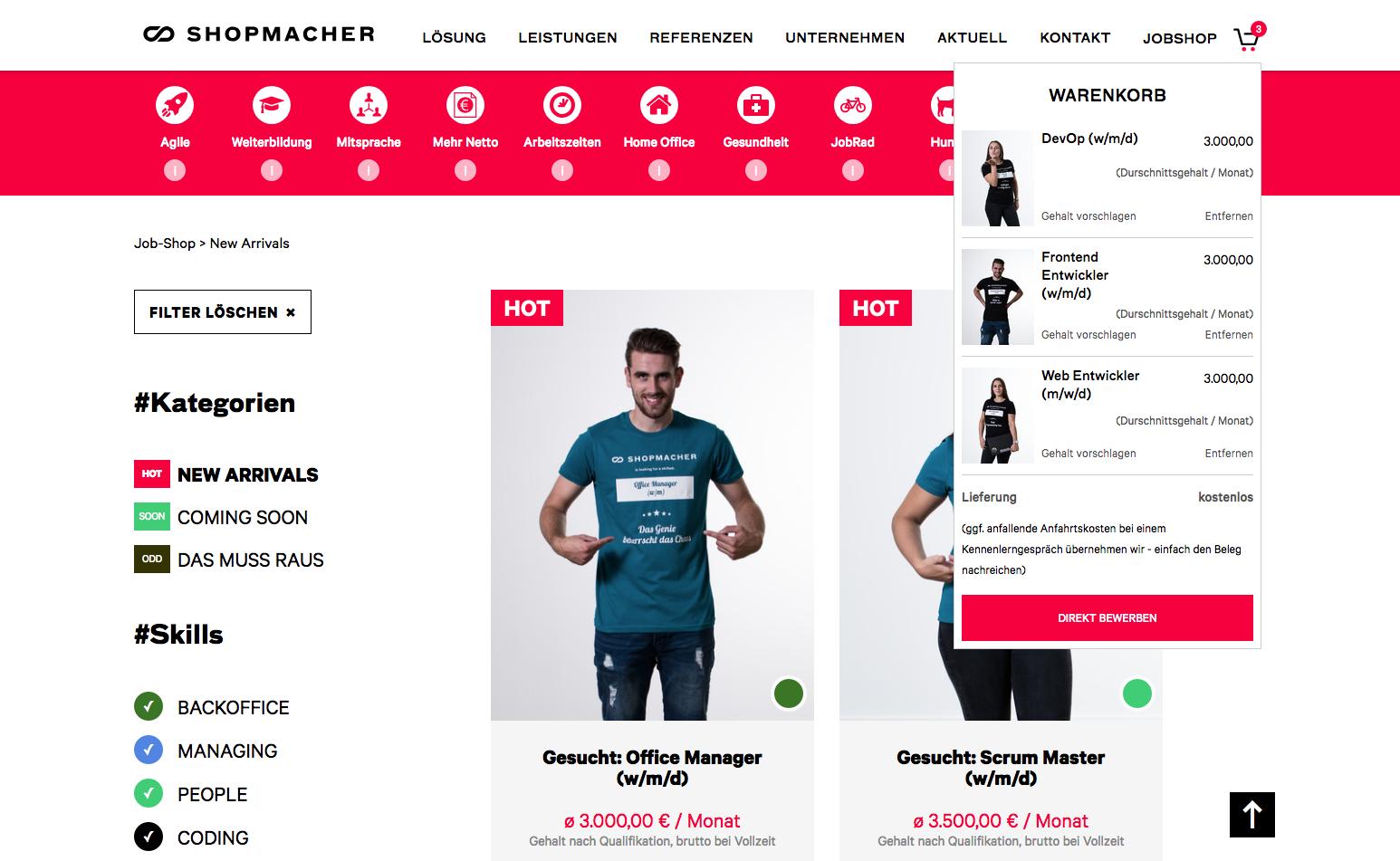 Im SHOPMACHER JobShop werden vakante Jobs wie Artikel in einem Onlineshop präsentiert